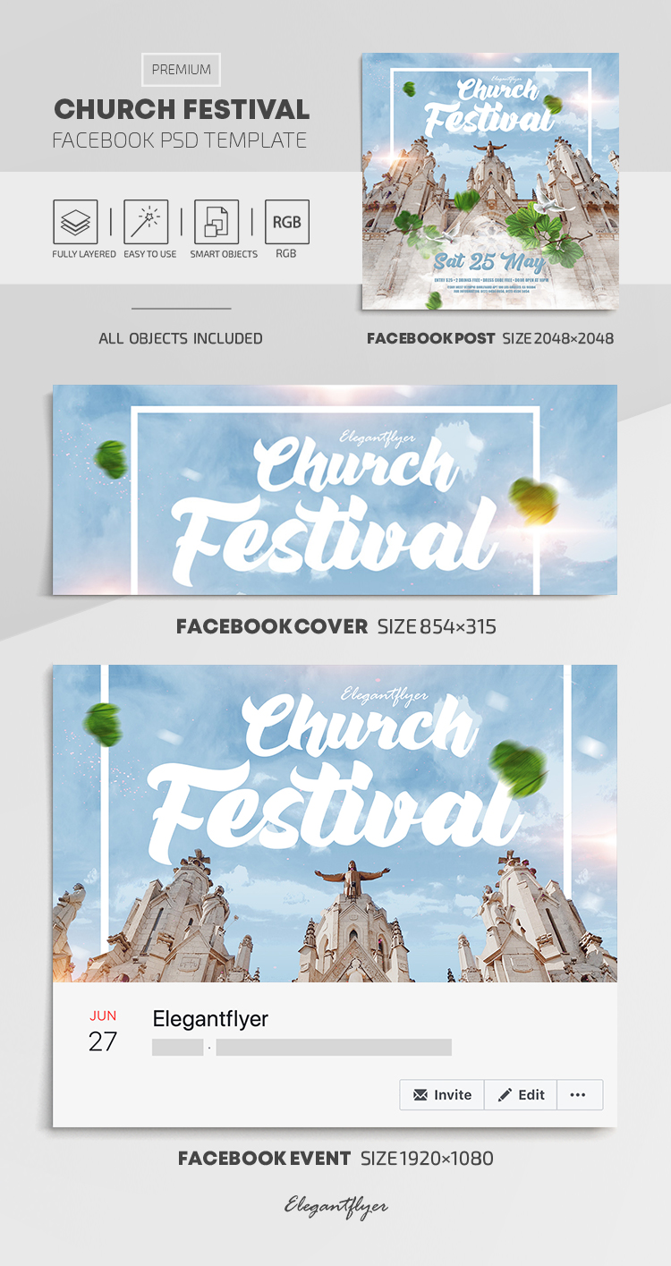 Church Festival – Facebook Cover Template in PSD + Post + Event cover