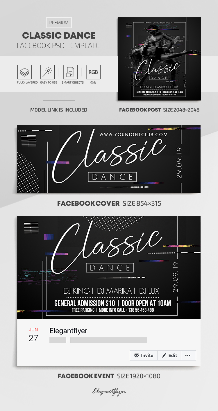 Classic Dance – Facebook Cover Template in PSD + Post + Event cover