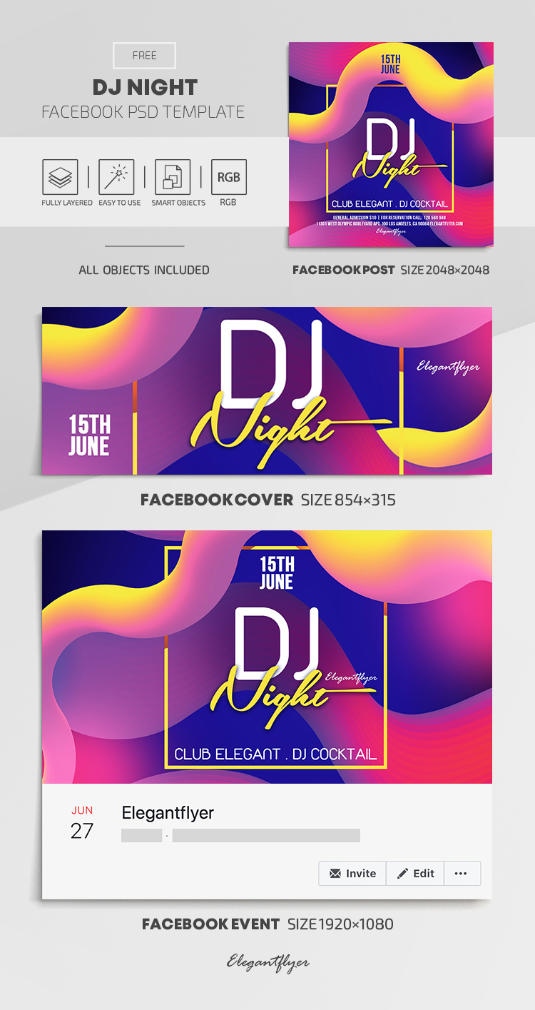 DJ Night – Free Facebook Cover Template in PSD + Post + Event cover