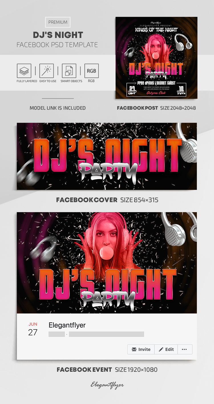 DJ's Night – Facebook Cover Template in PSD + Post + Event cover