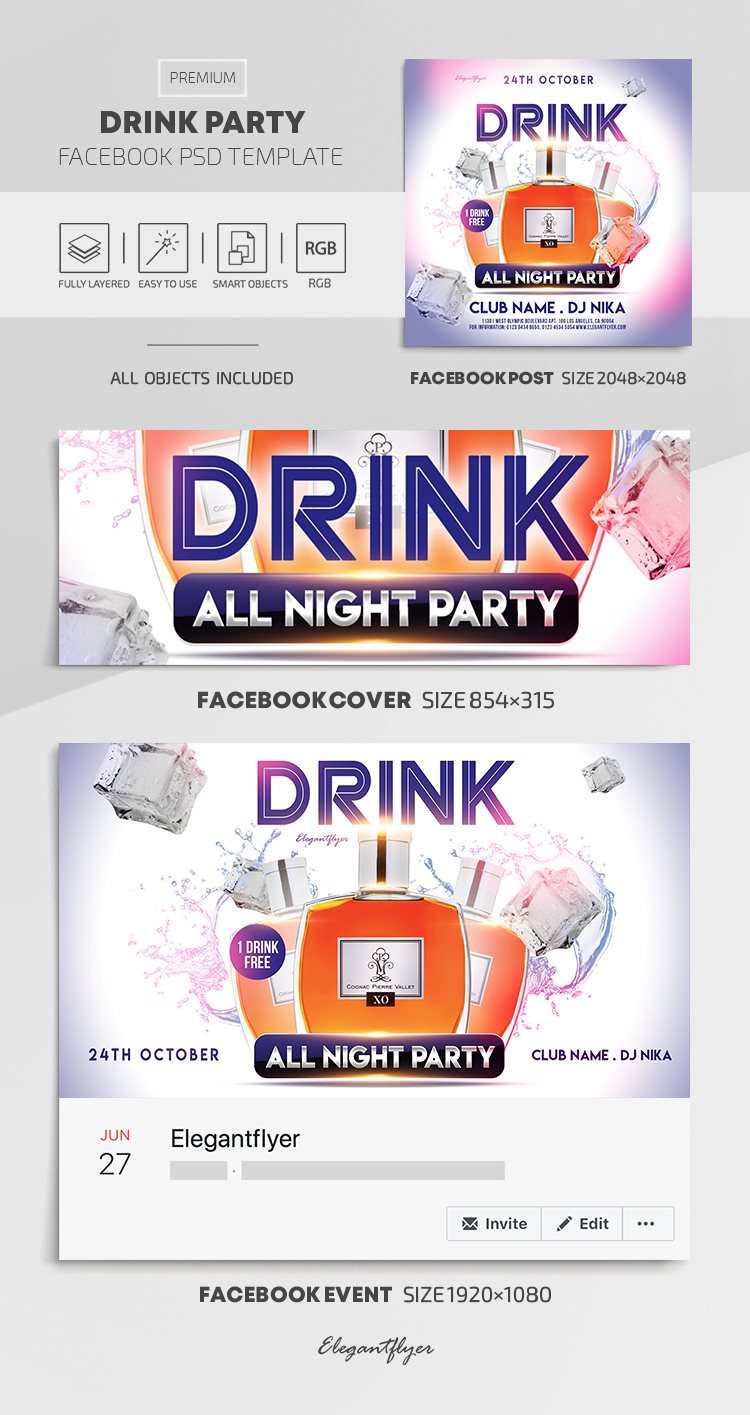 Drink Party – Facebook Cover Template in PSD + Post + Event cover