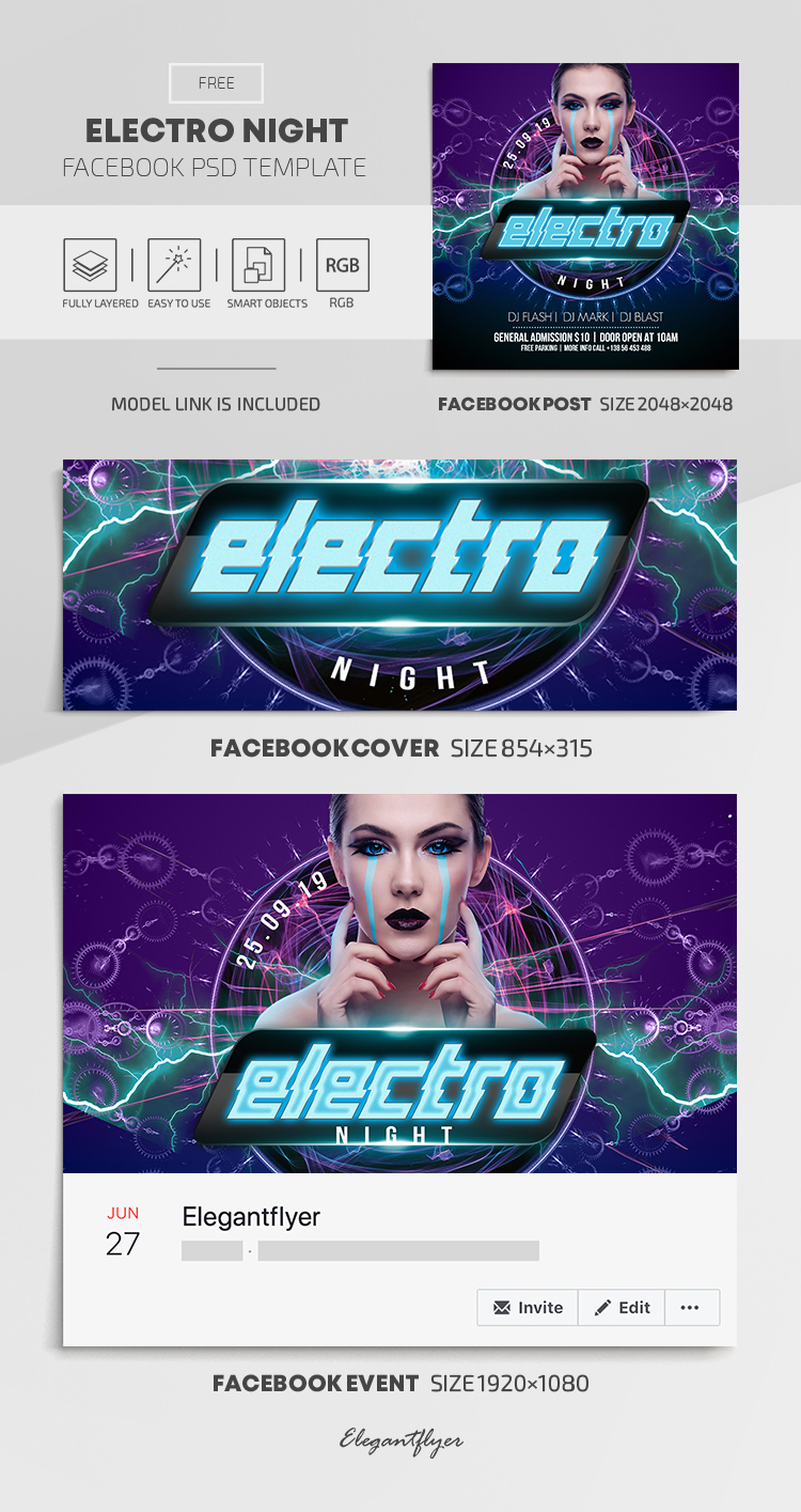 Electro Night – Free Facebook Cover Template in PSD + Post + Event cover