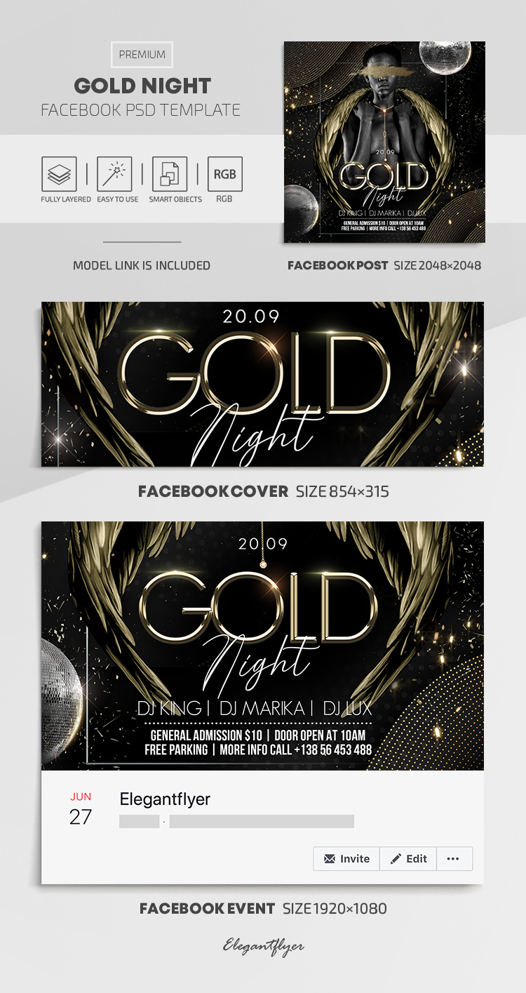 Gold Night – Facebook Cover Template in PSD + Post + Event cover