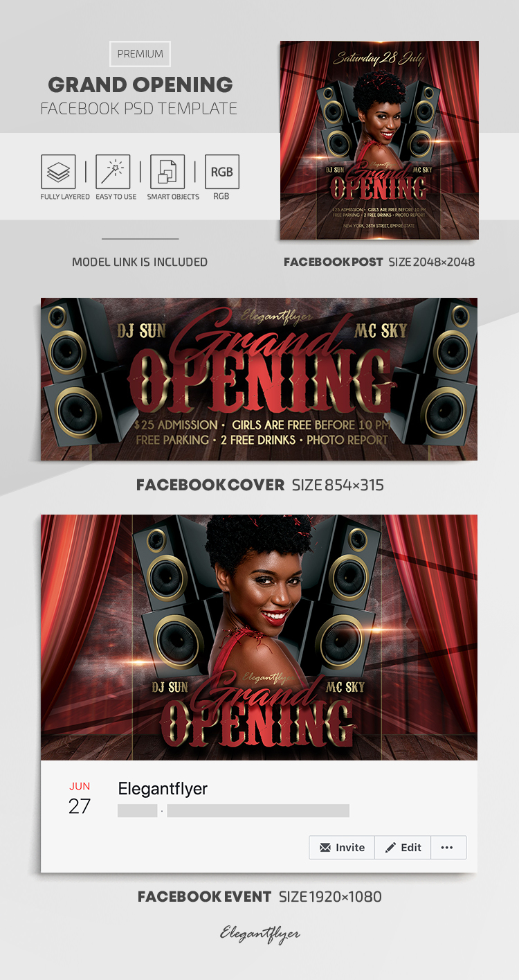 Grand Opening – Facebook Cover Template in PSD + Post + Event cover