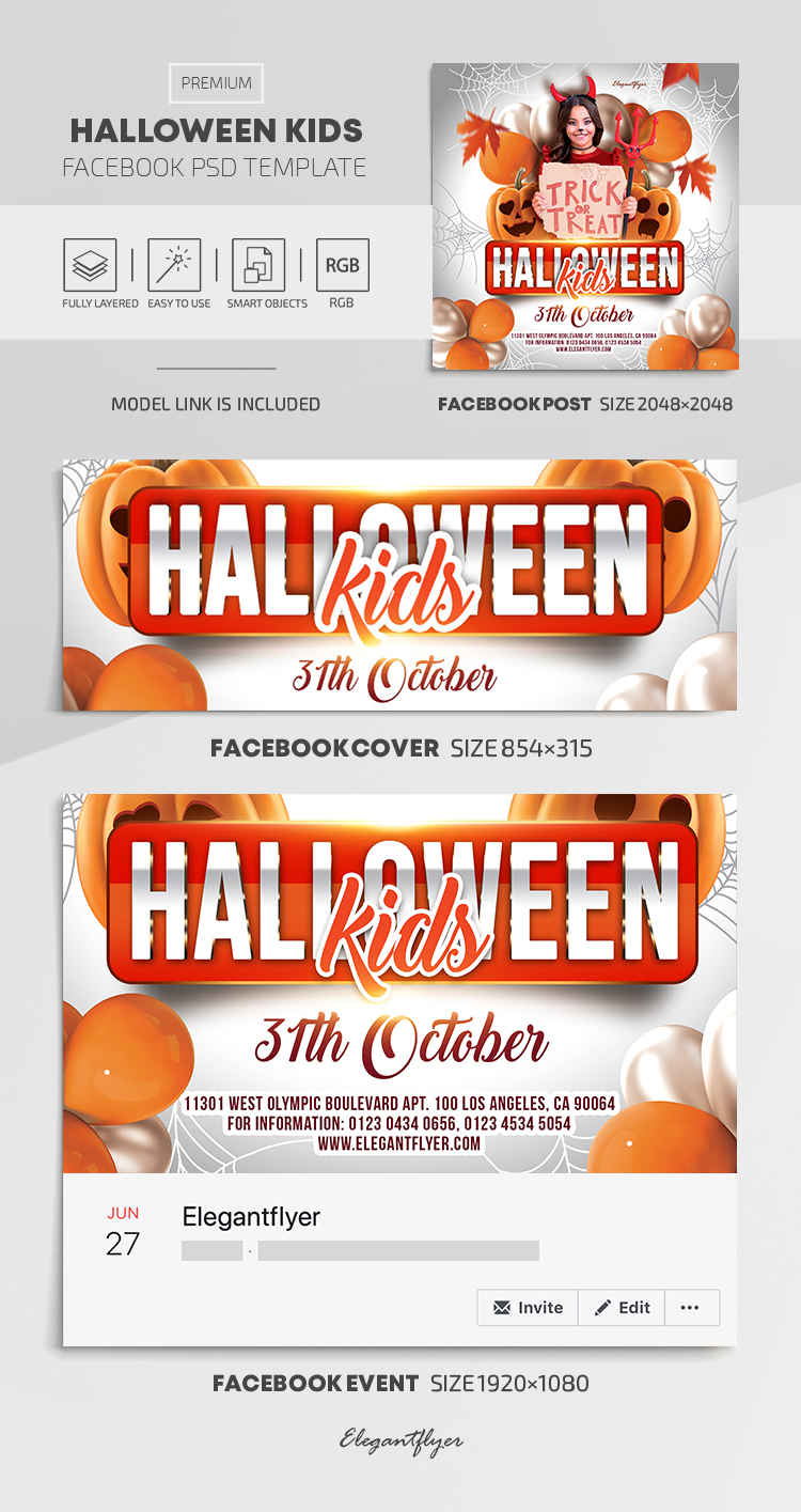 Halloween Kids – Facebook Cover Template in PSD + Post + Event cover