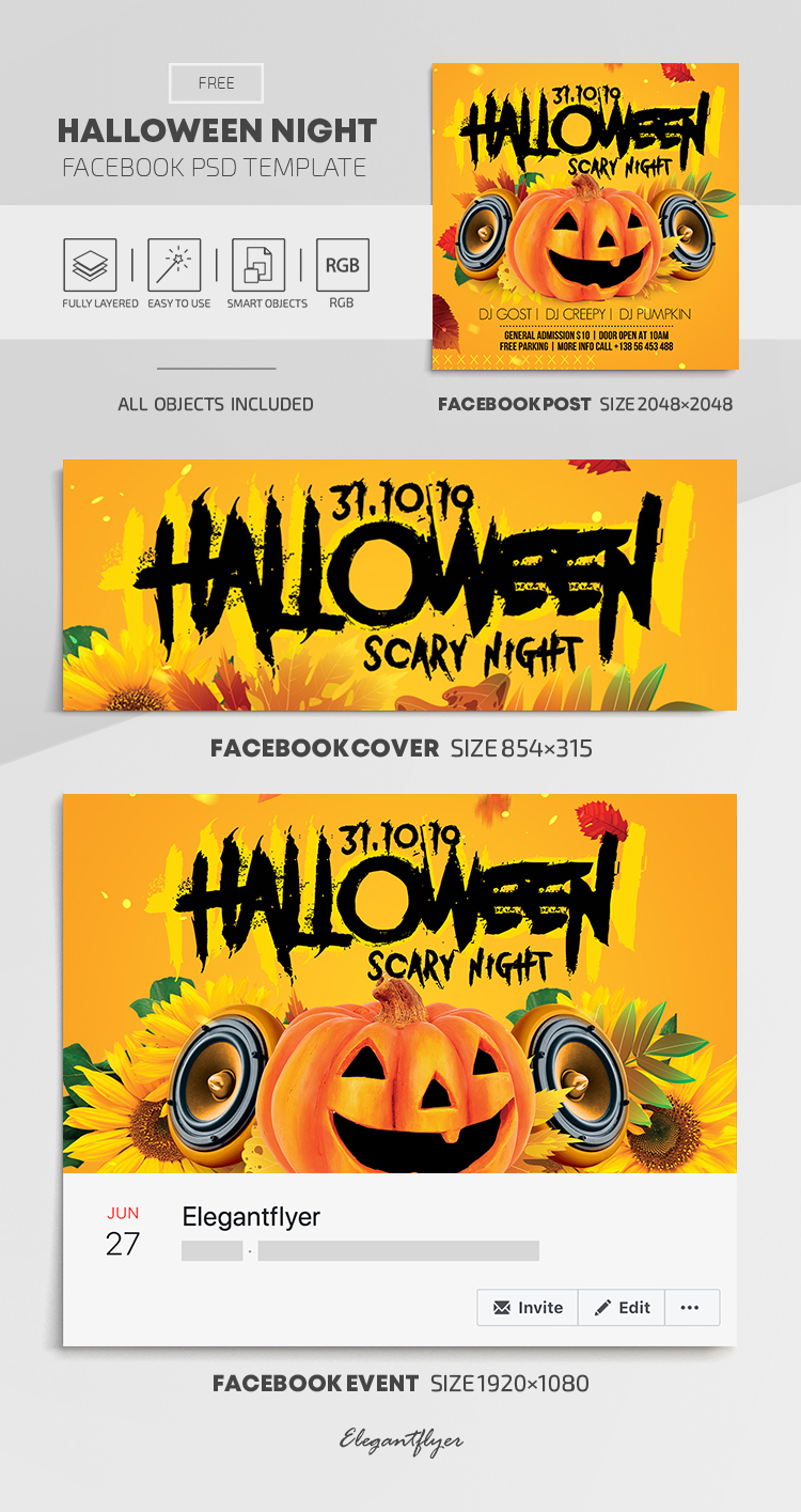 Halloween Night – Free Facebook Cover Template in PSD + Post + Event cover