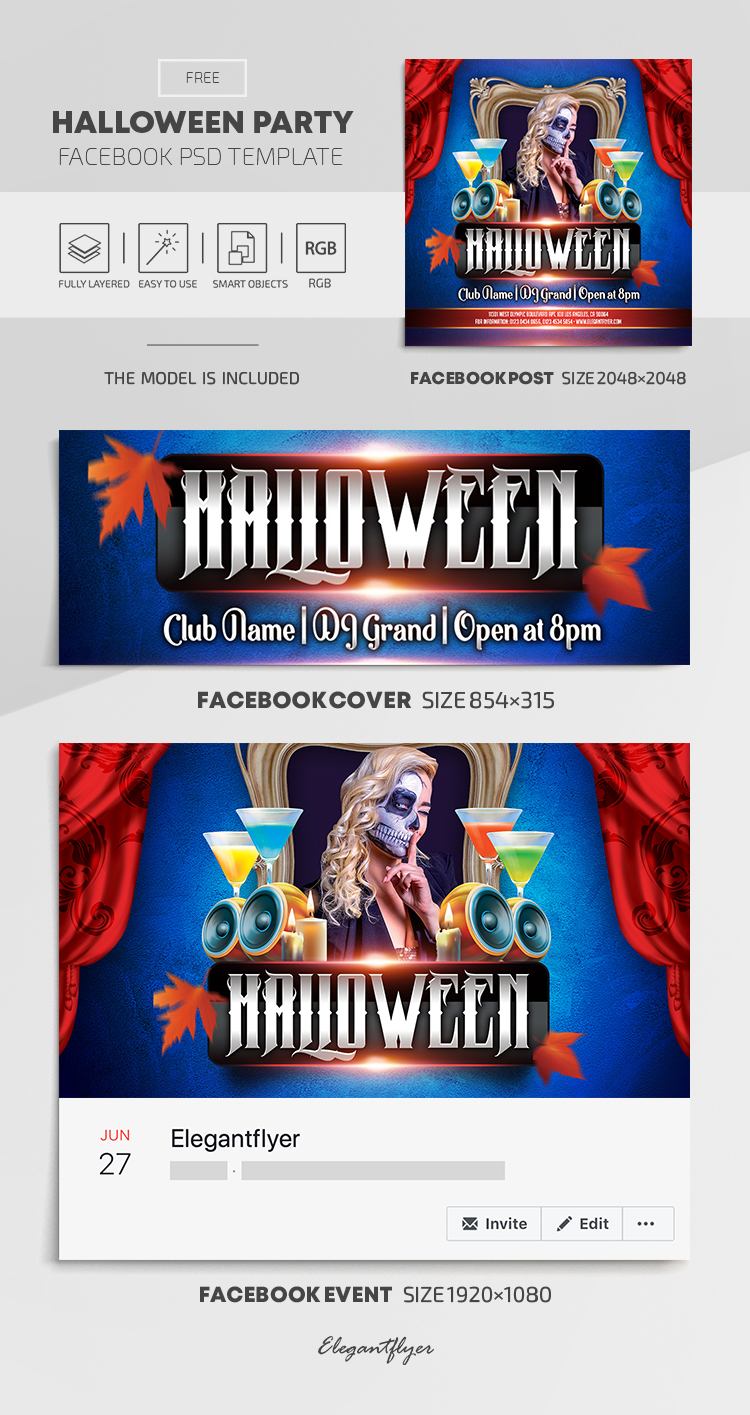 Halloween Party – Free Facebook Cover Template in PSD + Post + Event cover