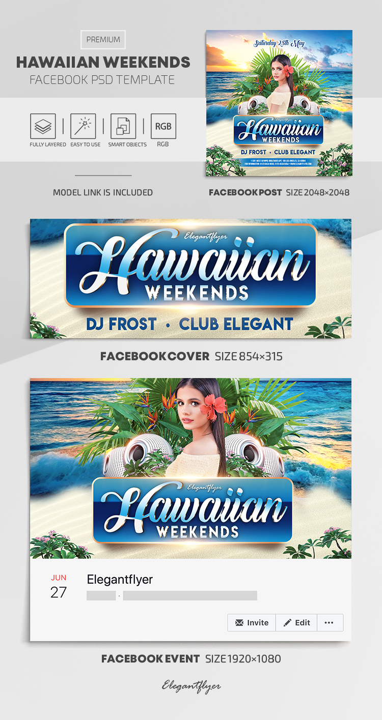 Hawaiian Weekends – Facebook Cover Template in PSD + Post + Event cover