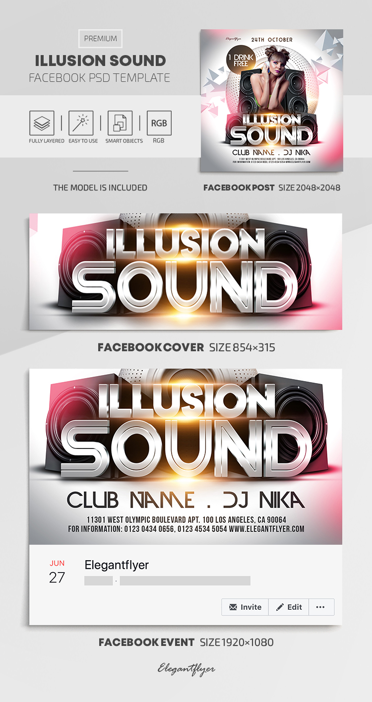Illusion Sound – Facebook Cover Template in PSD + Post + Event cover