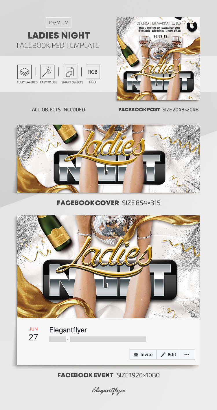 Ladies Night – Facebook Cover Template in PSD + Post + Event cover