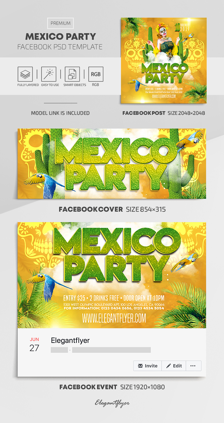 Mexico Party – Facebook Cover Template in PSD + Post + Event cover