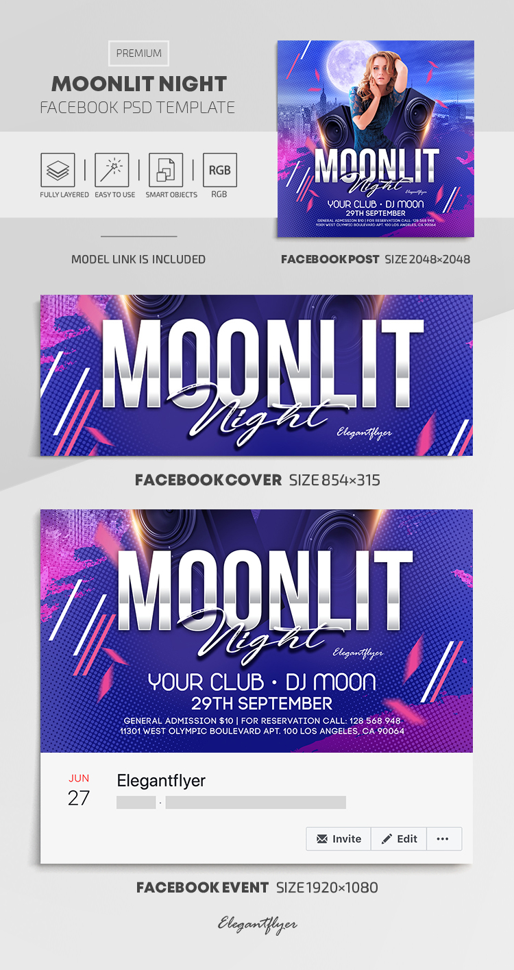 Moonlit Night – Facebook Cover Template in PSD + Post + Event cover