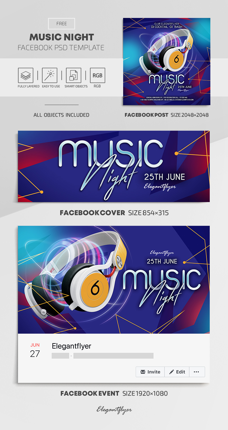 Music Night – Free Facebook Cover Template in PSD + Post + Event cover