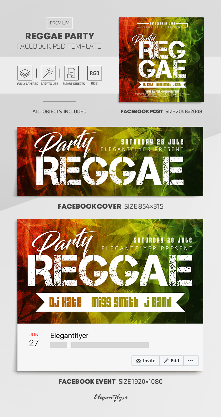 Reggae Party – Facebook Cover Template in PSD + Post + Event cover