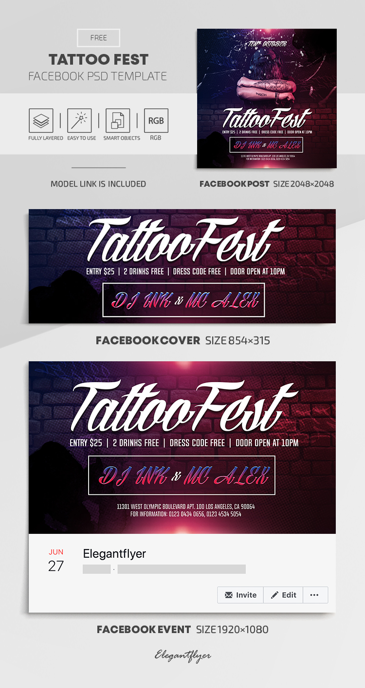 Tattoo Fest – Free Facebook Cover Template in PSD + Post + Event cover