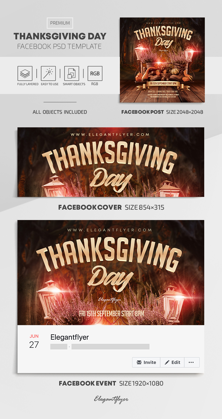 Thanksgiving Day – Facebook Cover Template in PSD + Post + Event cover