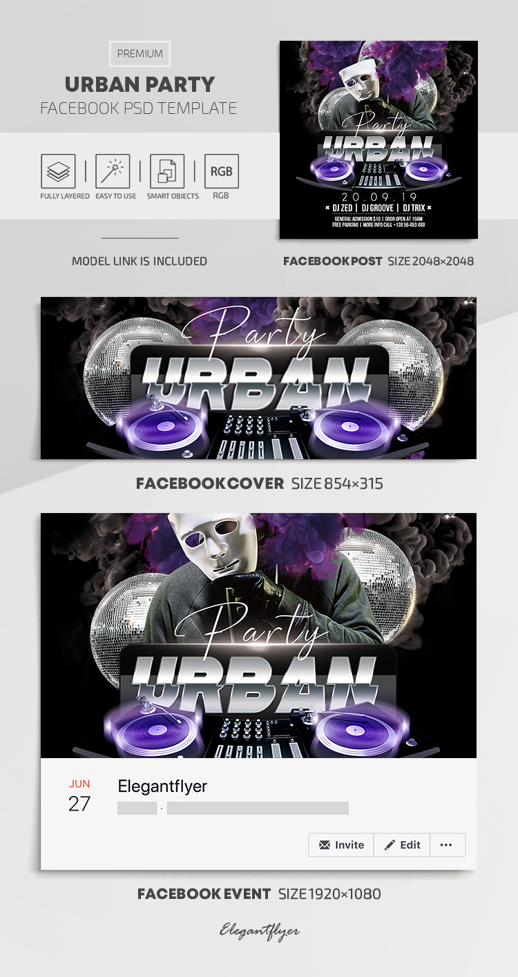 Urban Party – Facebook Cover Template in PSD + Post + Event cover