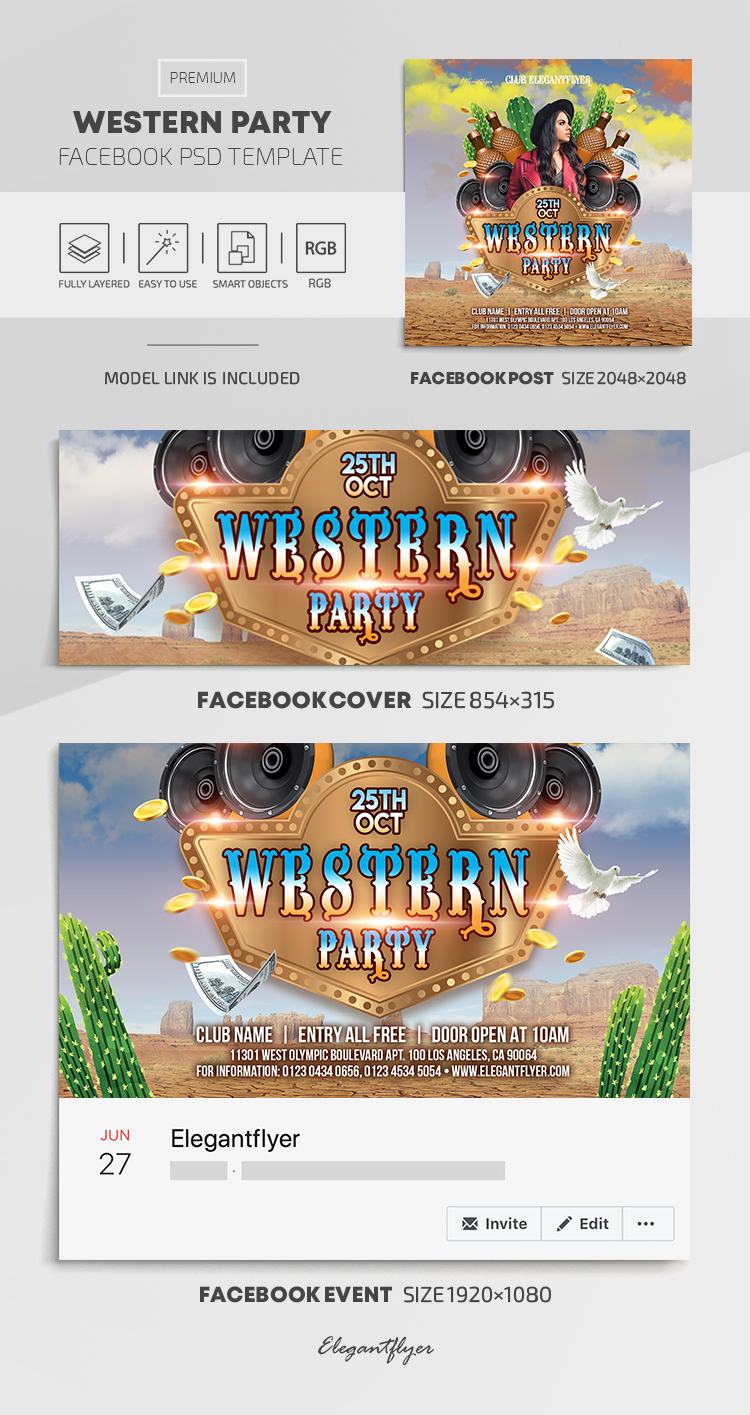 Western Party – Facebook Cover Template in PSD + Post + Event cover