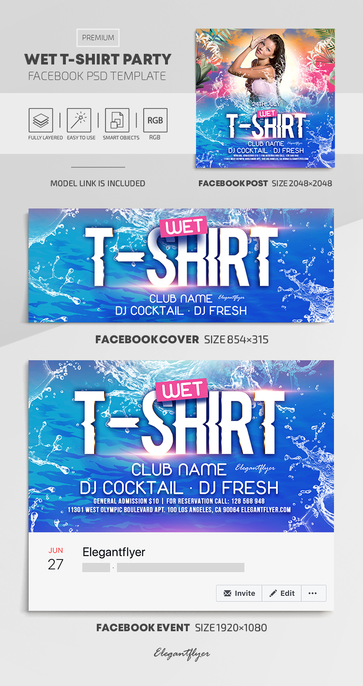 Wet T-Shirt Party – Facebook Cover Template in PSD + Post + Event cover