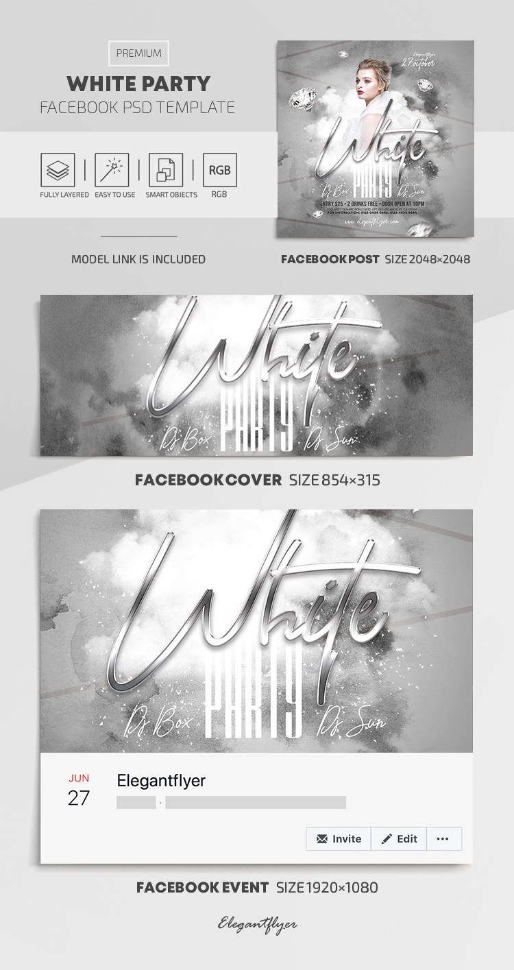 White Party – Facebook Cover Template in PSD + Post + Event cover
