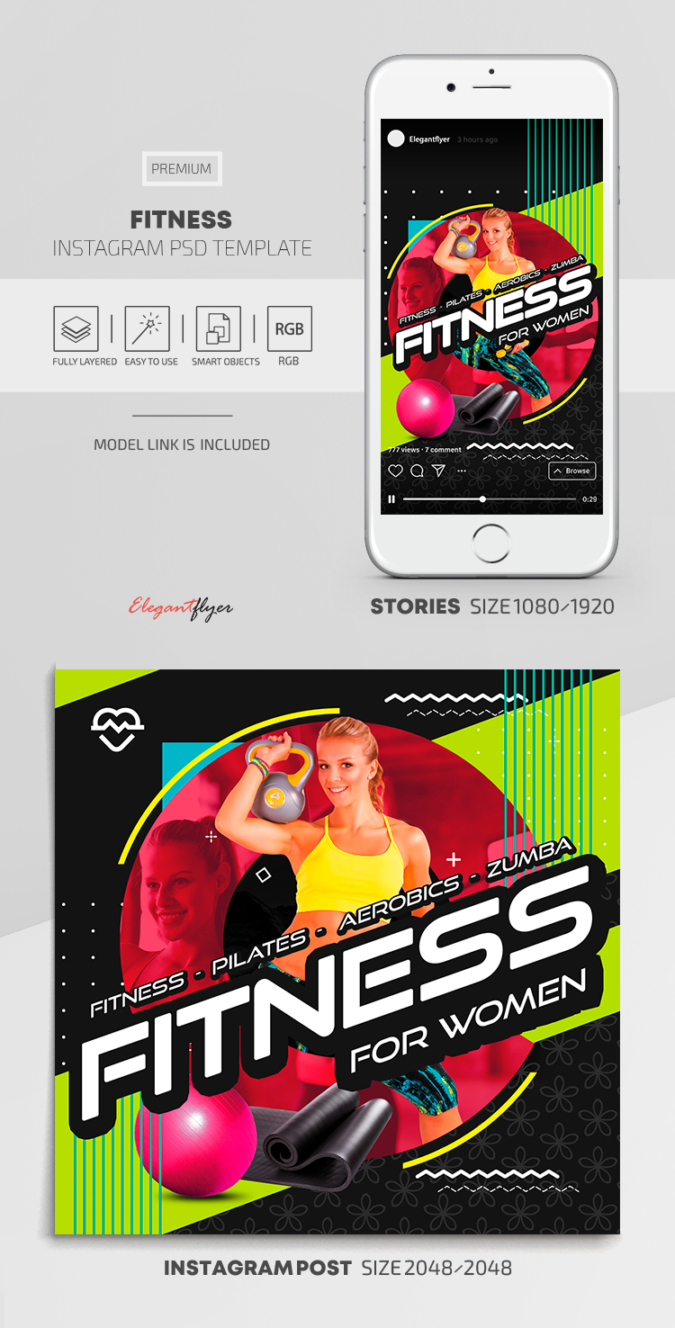 Fitness – Instagram Stories Template in Premium PSD + Post Templates