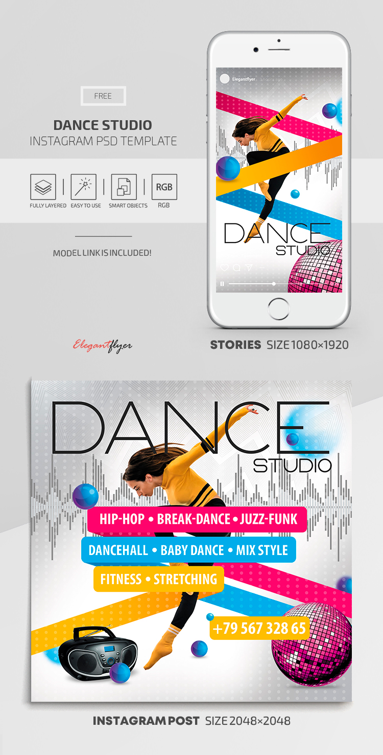 Dance Studio – Instagram Stories Template in FREE PSD + Post Templates