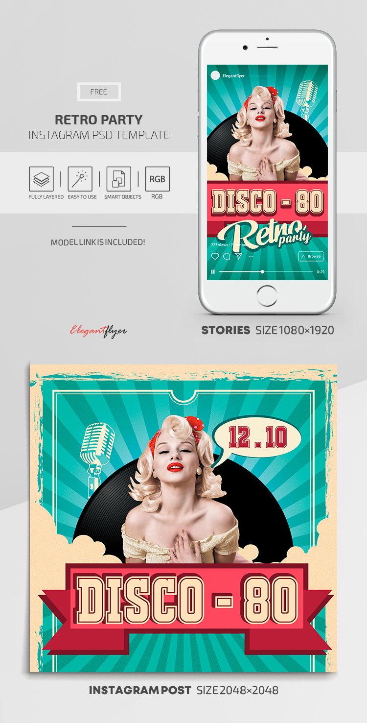 Retro Party – Instagram Stories Template in FREE PSD + Post Templates
