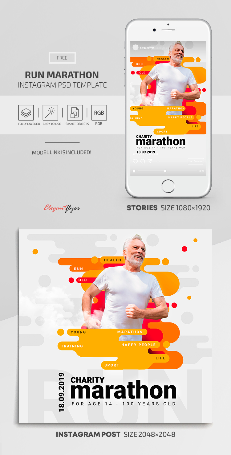 Run Marathon – Instagram Stories Template in FREE PSD + Post Templates