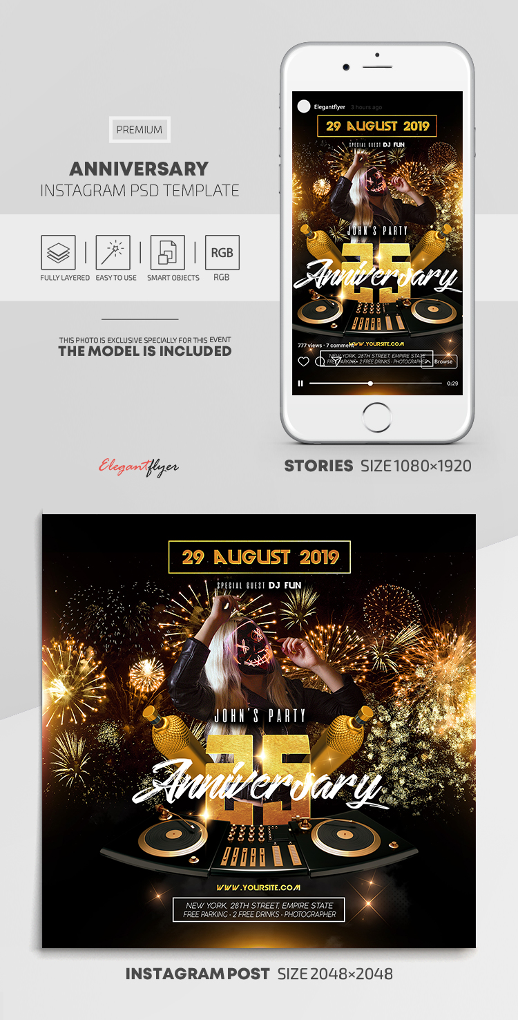 Anniversary – Instagram Stories Template in PSD + Post Templates