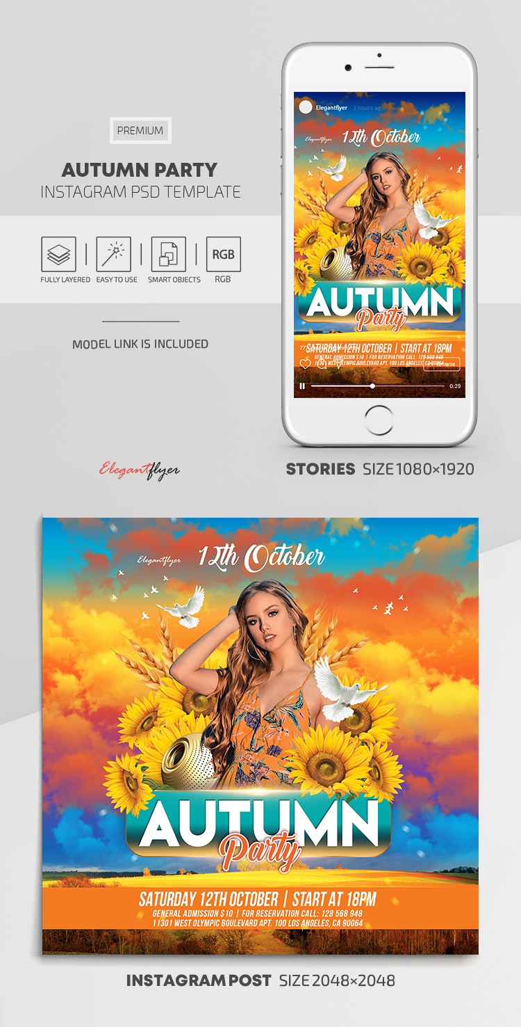 Autumn Party – Instagram Stories Template in PSD + Post Templates