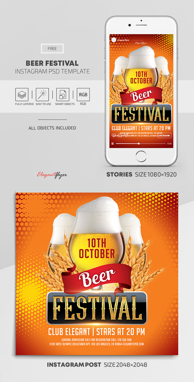 Beer Festival – Free Instagram Stories Template in PSD + Post Templates