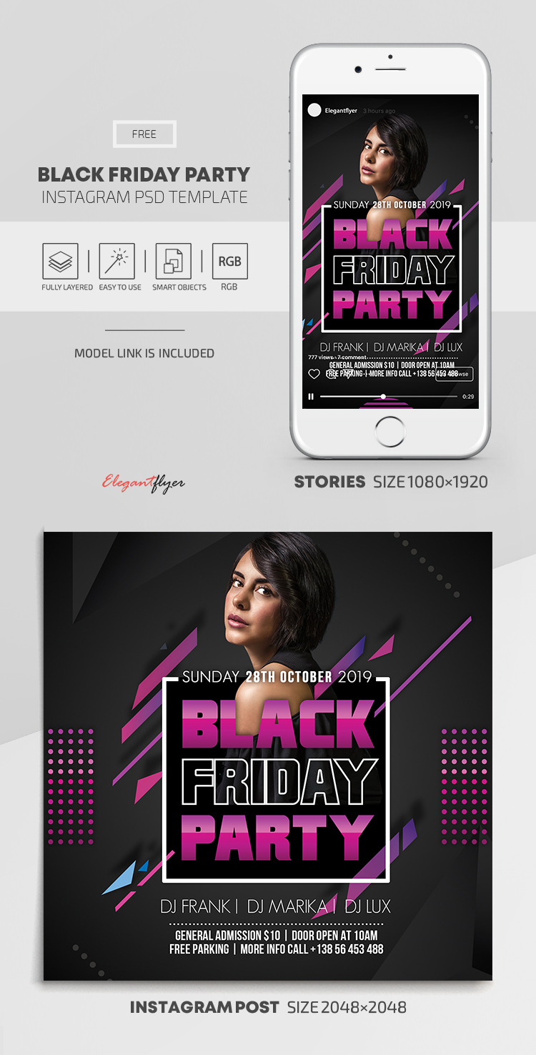 Black Friday Party – Free Instagram Stories Template in PSD + Post Templates