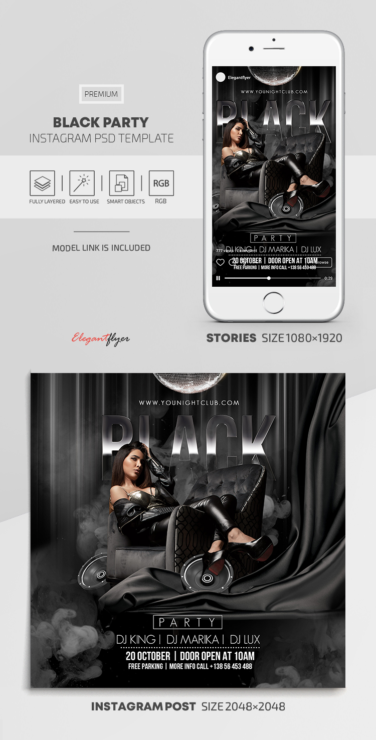 Black Party – Instagram Stories Template in PSD + Post Templates