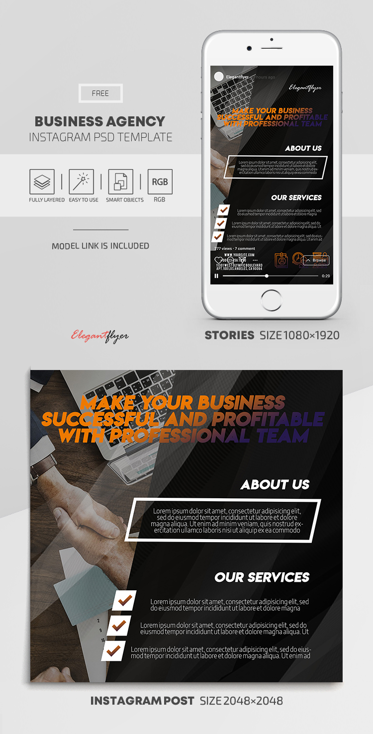 Business Agency – Free Instagram Stories Template in PSD + Post Templates