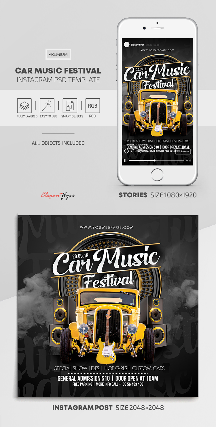 Car Music Festival – Instagram Stories Template in PSD + Post Templates