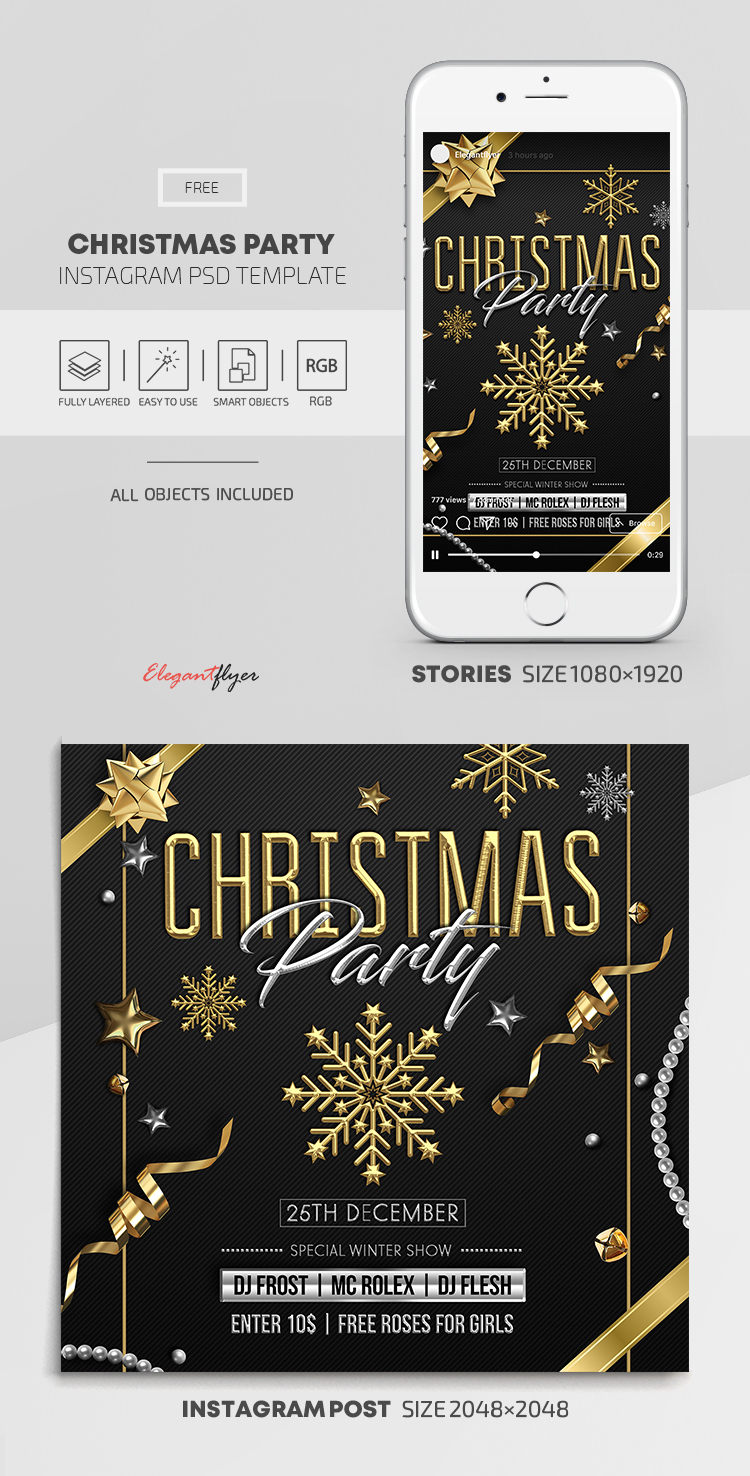 Christmas Party – Free Instagram Stories Template in PSD + Post Templates