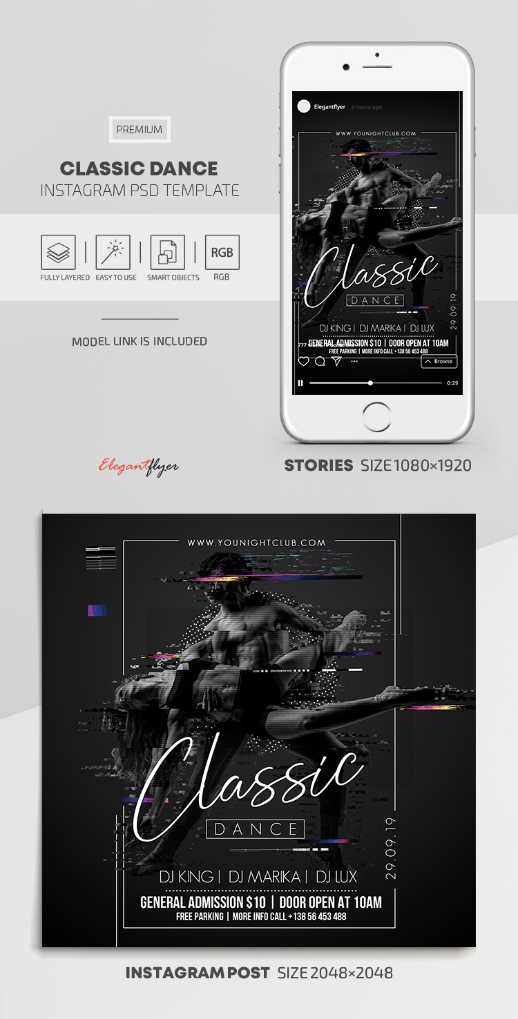 Classic Dance – Instagram Stories Template in PSD + Post Templates
