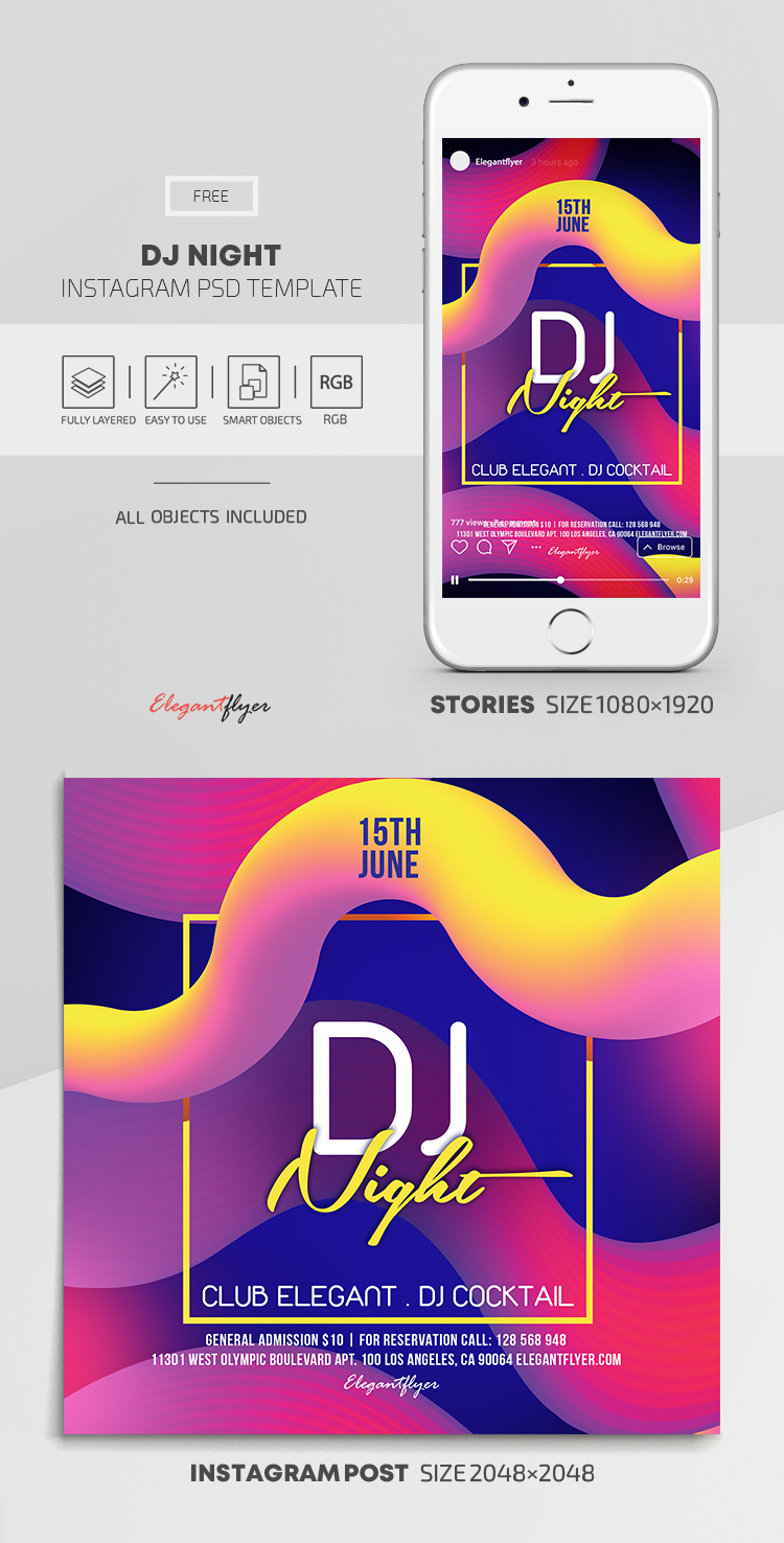 DJ Night – Free Instagram Stories Template in PSD + Post Templates