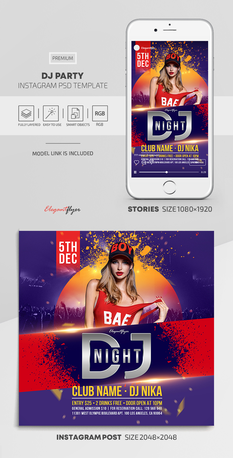 DJ Party – Instagram Stories Template in PSD + Post Templates