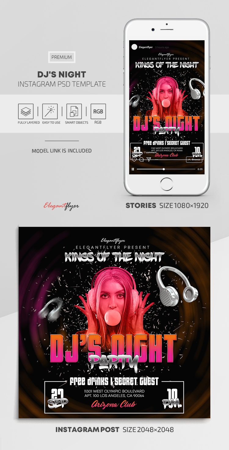 DJ's Night – Instagram Stories Template in PSD + Post Templates