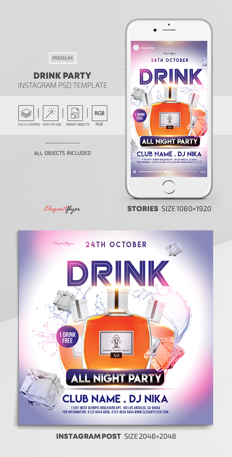 Drink Party – Instagram Stories Template in PSD + Post Templates