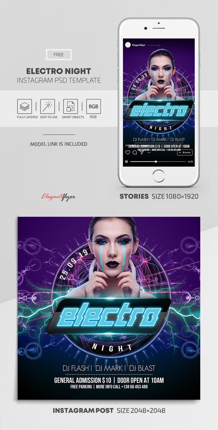 Electro Night – Free Instagram Stories Template in PSD + Post Templates
