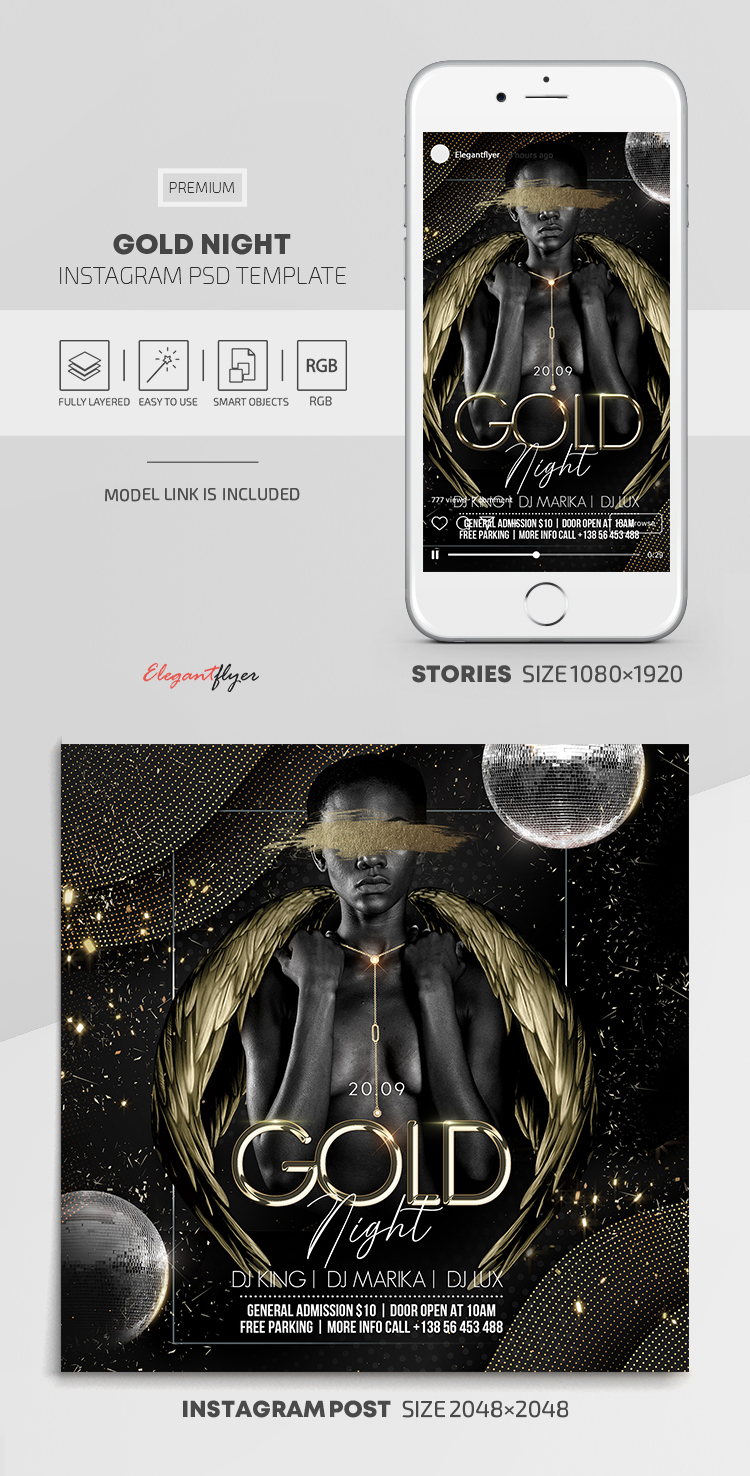 Gold Night – Instagram Stories Template in PSD + Post Templates