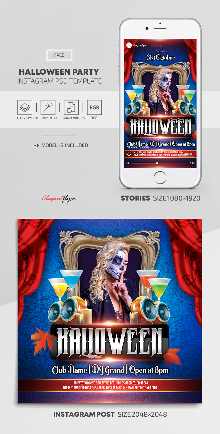 Halloween Party – Free Instagram Stories Template in PSD + Post Templates