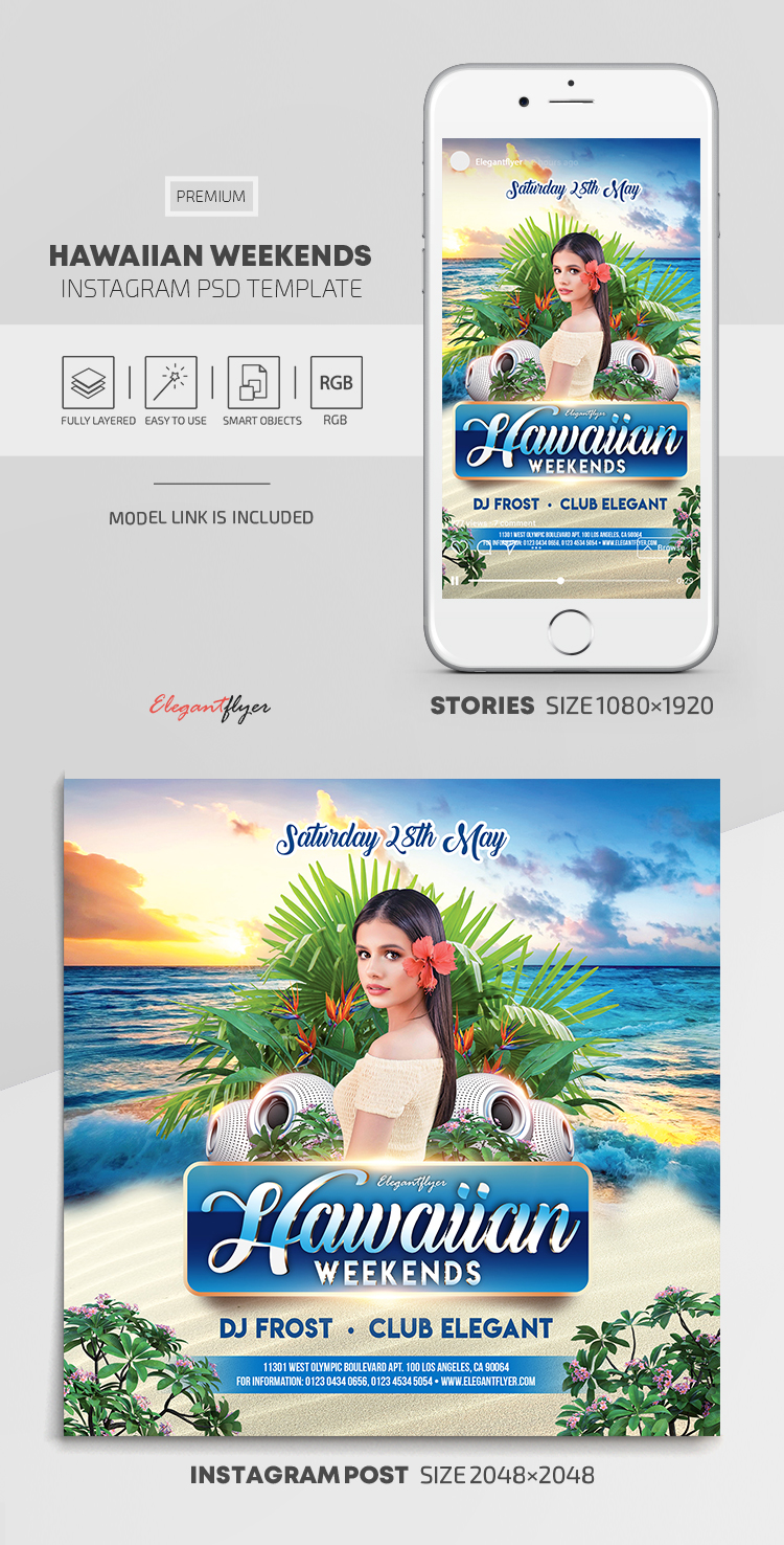Hawaiian Weekends – Instagram Stories Template in PSD + Post Templates