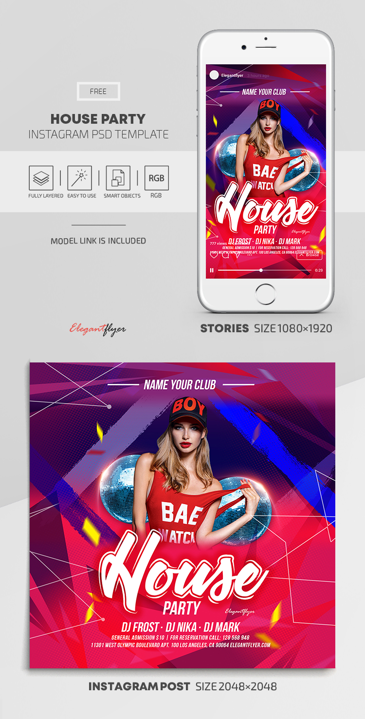 House Party – Free Instagram Stories Template in PSD + Post Templates