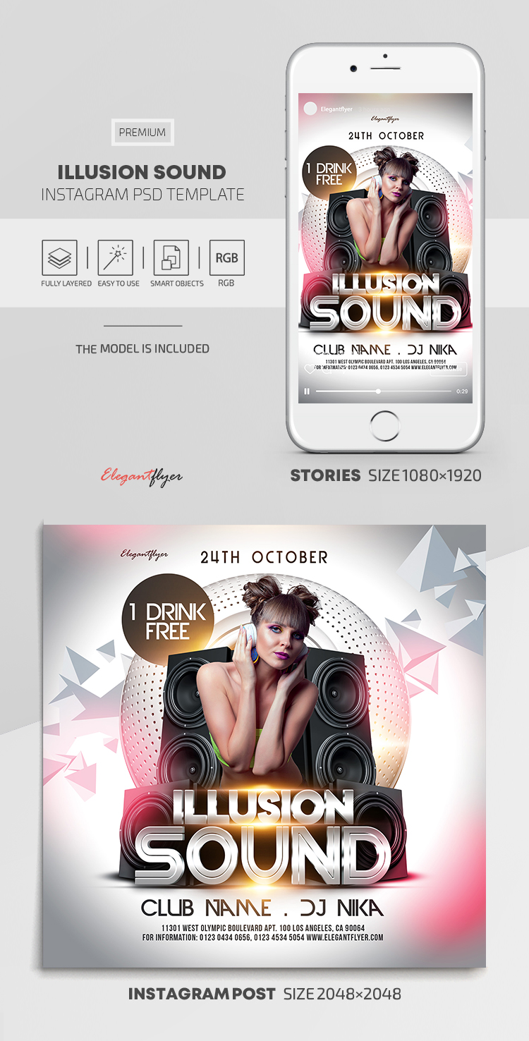 Illusion Sound – Instagram Stories Template in PSD + Post Templates