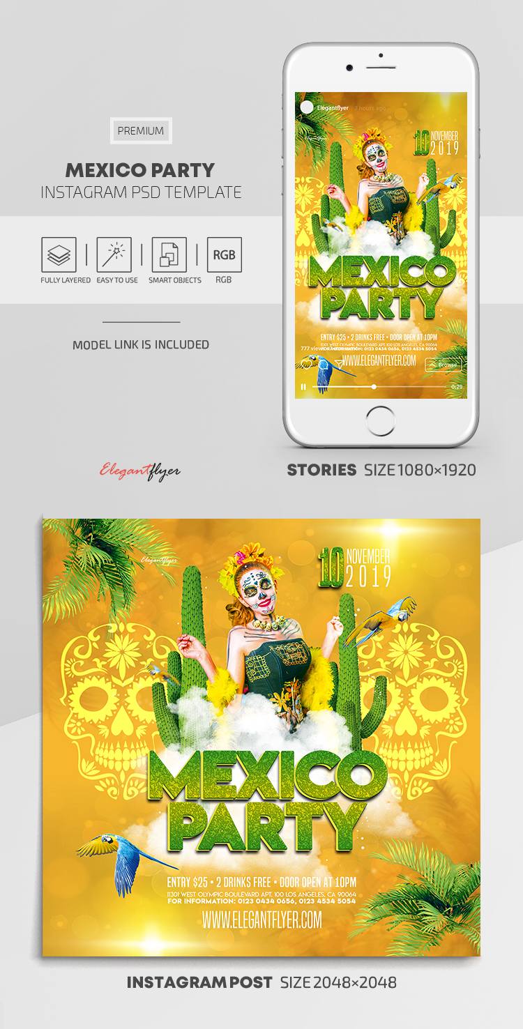 Mexico Party – Instagram Stories Template in PSD + Post Templates