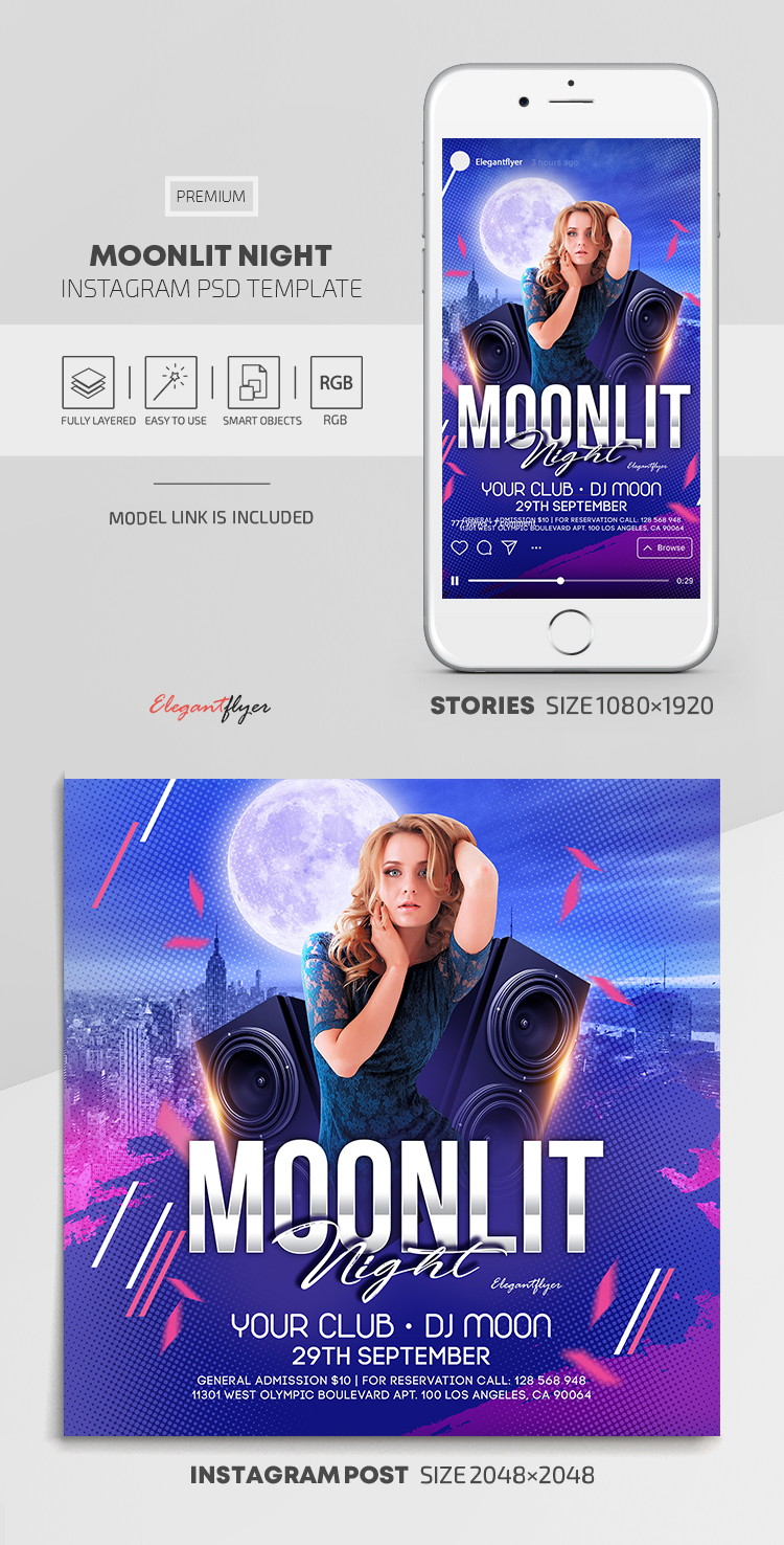 Moonlit Night – Instagram Stories Template in PSD + Post Templates