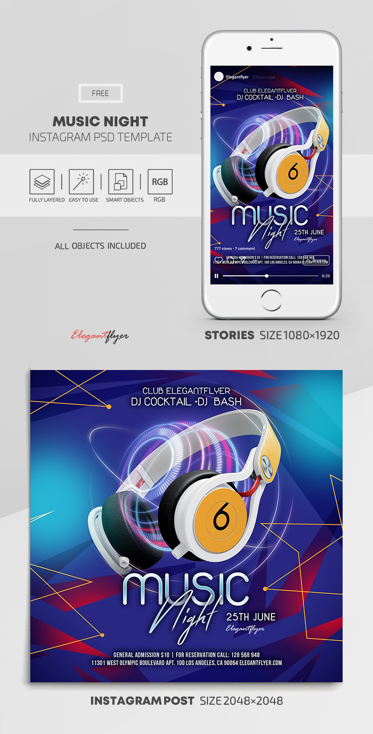 Music Night – Free Instagram Stories Template in PSD + Post Templates